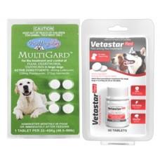 Vetastar for Medium / Large Dogs 30 pack (Bonus Multigard Large 6 pack)