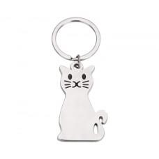 ***Silver Cat Key Chain Key Ring