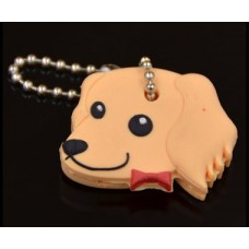 **Soft Gold Dog Pet Key Cover & Keyring