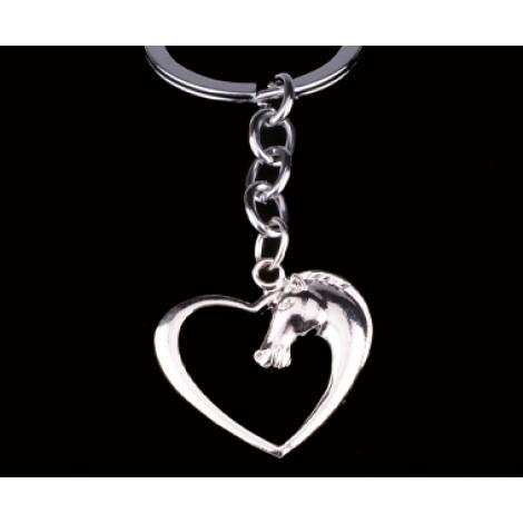**SilverKey Chain Key Ring 'Horse head heart:'