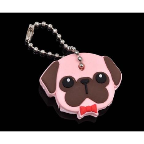 **Soft Pug Dog Pet Key Cover & Keyring