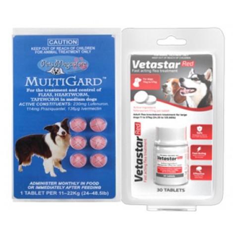 Vetastar for Medium / Large Dogs 30 Pack (Bonus Multigard Medium 6 pack)